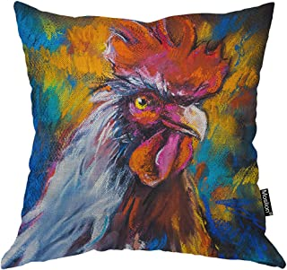 Moslion Rooster Pillows Oil Painting of Farm Animal Colorful Rooster Hen Cock Throw Pillow Cover Decorative Pillow Case Square Cushion Accent Cotton Linen Home 18x18 Inch