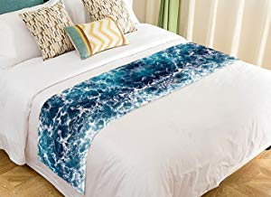 Custom Ocean Dancing Waves Blue Sea Seascape Bed Runner Bedding Scarf Size 20x95 inches