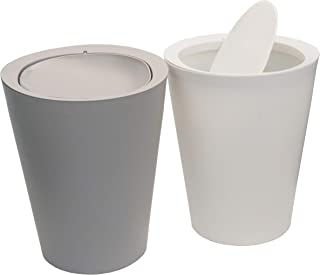 Feiupe 2 Gallon Small Trash Can Garbage Can Wastebasket for Bathroom Kitchen Office,Pack of 2 (White+Gray, 2 Gallon(2 Pack))