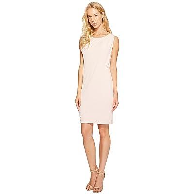 Jessica Simpson Sleeveless Ity Dress with Front Drape (Blush) Women