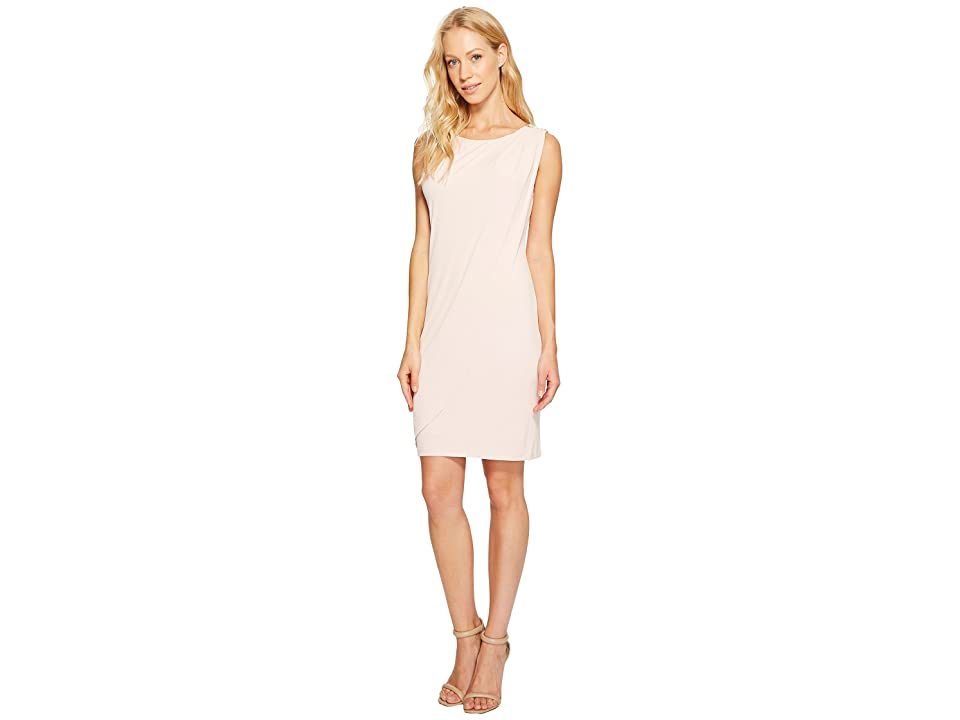 Jessica Simpson Sleeveless Ity Dress with Front Drape (Blush) Women