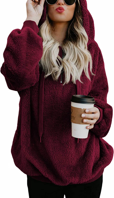 Century Star Womens Hoodies Fuzzy Hooded Sweatshirt Zipper Fleece Hoodie Pullover Sherpa Sweater Fluffy Coat