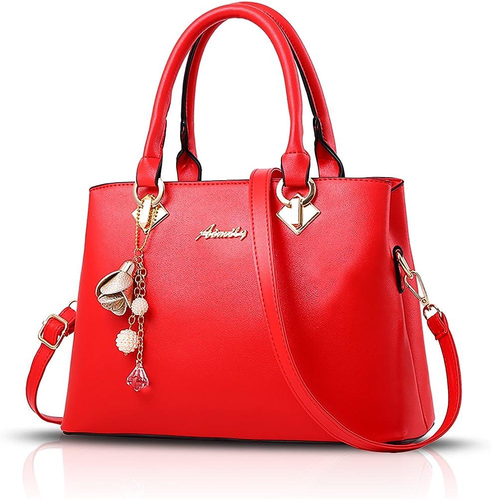 Sdinaz, borsa a mano/tracolla per donna, in pelle sintetica, rossa SK-DE34303