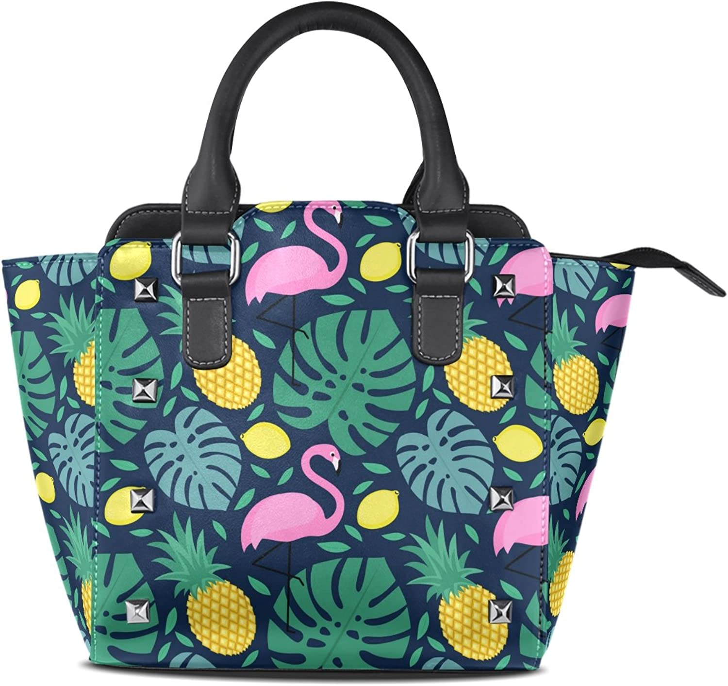 My Little Nest Women's Top Handle Satchel Handbag Flamingo Pineapple Lemons Ladies PU Leather Shoulder Bag Crossbody Bag