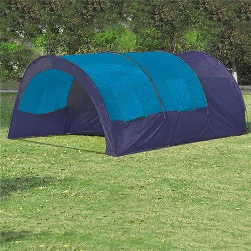 Wiivilik vidaXL Tente de Camping 6 Personnes Bleu foncé et Bleu