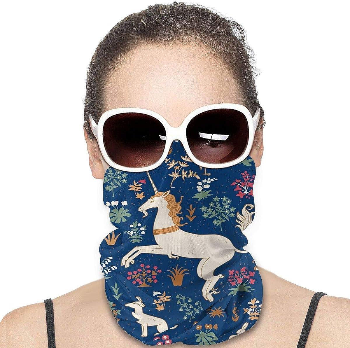KiuLoam Women Bandanas Face Mask, Vintage Unicorn Magic Animal Neck Gaiter Mask Headband for Men Face Scarf Dust, Outdoors, Sports