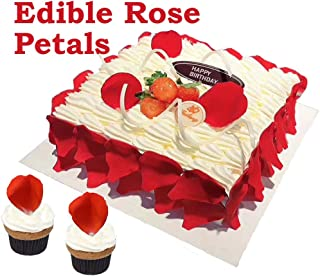 GEORLD Edible Rose Petal Wafer Flower Cake &Cupcake Topper for Wedding Birthday Decoration,48 Counts