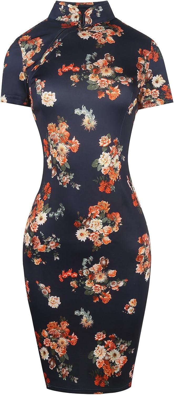 Sakaly Women's Vintage Summer Sun Dress Slim Print Office Ladies Wear Party Midi Sheath Dresses SK183