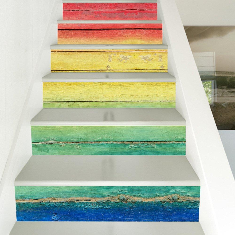 Snatchcz 6 Unids Decoraciones para El Hogar Bricolaje Pegatinas De Escalera 3D Color Tablero De Madera Escalera Decal Escalera De Caracol Calcomanía: Amazon.es: Hogar