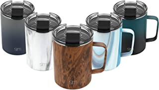 Simple Modern 12oz Scout Coffee Travel Mug Tumbler w/Clear Flip Lid - Cup Vacuum Insulated Camping Flask with Lid 18/8 Stainless Steel Hydro Pattern: Wood Grain