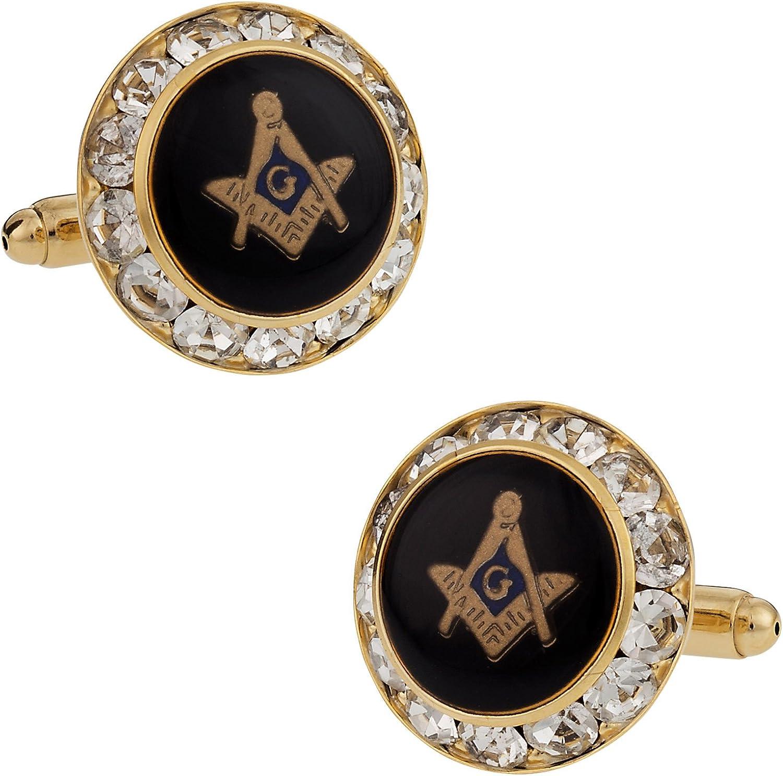 Crystal Freemason Masonic Cufflinks | Black Gold Crystal Compass Cufflinks for Mason with Presentation Gift Box