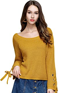 Locomo Women Girl Criss Cross Lace Up Pullover Knit Sweater Top FFK095GRN2XL