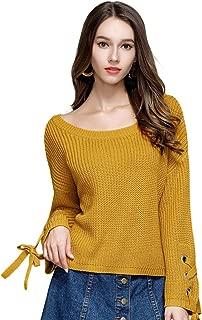 Locomo Women Girl Criss Cross Lace Up Pullover Knit Sweater Top FFK095GRN2XL