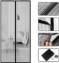 Pomisty Vliegengaas, hordeur, muggennet, magneet, muggennet voor balkondeur, kelderdeur, terrasdeur, 90 x 210 cm, zwart