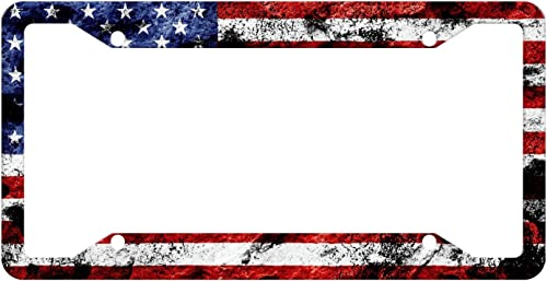 EXMENI Custom Patriotic USA License Plate Frame Quality Aluminum License Plate Cover American Flag Design License Pla...