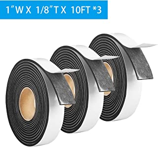 """3 Pack Foam Tape Weather Stripping Window Insulation,1""""Wx1/8""""T High Density Soundproof Seal Strip,Adhesive Closed Cell Foam,Single Sided Draft Window Insulation Tape(Total 30FT,Black)"""