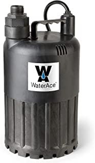 WaterAce WA80UP Submersible Utility Pump, 1/2 HP, Black