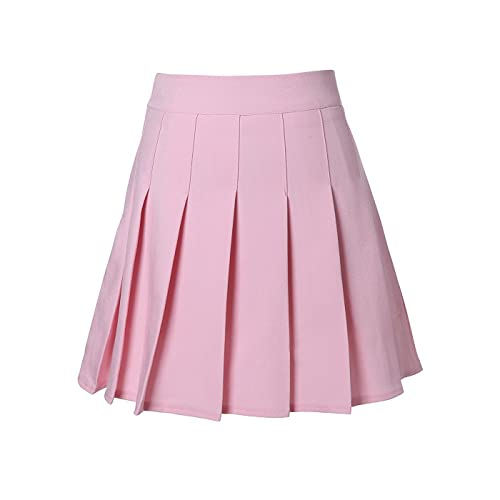 b7d7472d40 Uniform Solid Pleated Mini A line Skirt