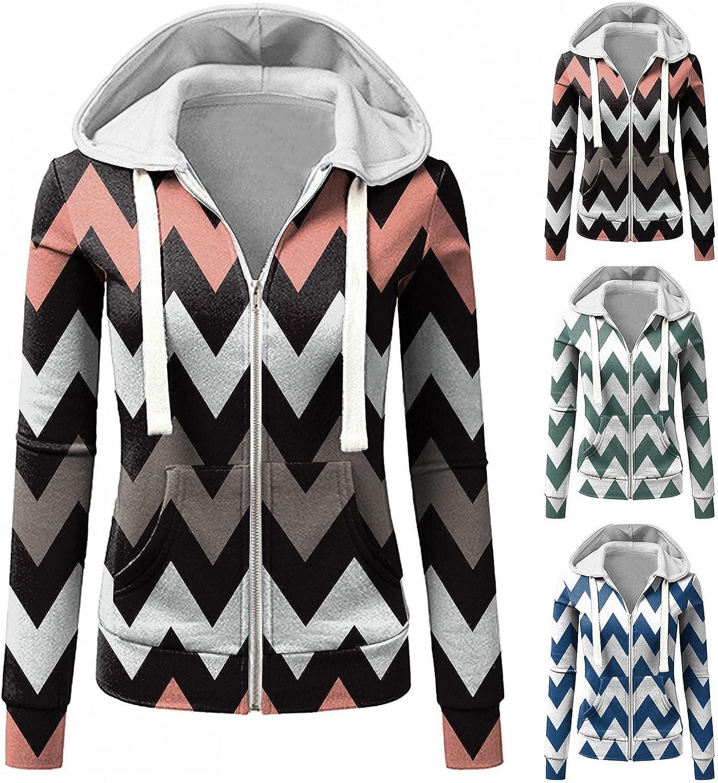 Fudule Zip Up Hoodies for Women, 2021 Fashion Lightweight Full-Zip Outerwear Stripe Print Sweatshirts with Pockets Coat