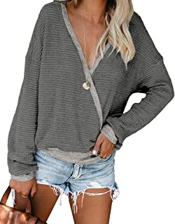 Womens V Neck Long Sleeve Fall Waffle Knit Tops Oversize Loose Fitting Casual Pullover Sweater Blouse