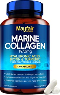 Marine Collagen Tablets - 120 High Strength Capsules - 1470mg Complex with Hyaluronic Acid, Biotin, Turmeric, Vitamin C, ...
