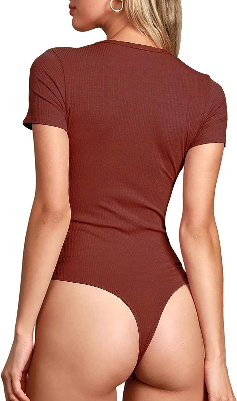 TARAINYA Women's V Neck Short Sleeve Ribbed Bodysuit 2022 New (Notched Neck)