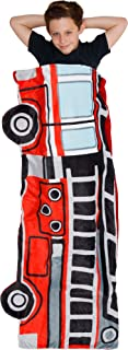 Silver Lilly Fire Truck Sleep Sack - Novelty Wearable Rescue Vehicle Shaped Sleeping Bag Blanket for Kids