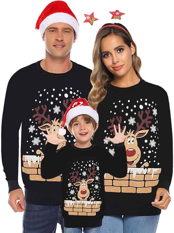 Suéter de Navidad Familia Pullover de Punto Jerséis para Mujer Hombre Niño NiñaInvierno Manga Larga Jersey Navideño Blusas Abrigo Tops riou