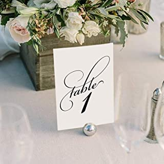 Bliss Collections Black Wedding Table Numbers, Double Sided 4x6 Calligraphy Design, Numbers 1-25 and Head Table Card Included