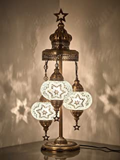 (16 Colors) Demmex 2019-3 Big Globes Magnificent Handmade Turkish Moroccan Mosaic Tiffany Table Desk Bedside Lamp Lampshade Night Accent Mood Light for North American Use, 31
