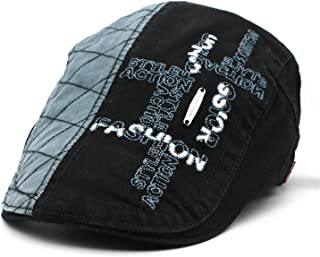 9873fd738b5 Men Retro Adult Berets 2019 Embroidery Striped Khaki Army Green Black  Cabbie Hats Newsboy Caps