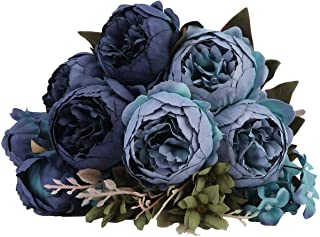 Kimura's Cabin Artificial Silk Peony Flower,Bouquet Floral Plants Decor for Home Garden Wedding Party Decor (Deep Lake Blue)