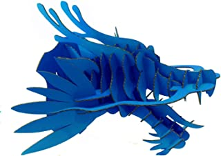 Paper Maker DIY Cardboard Wood Dragon Head Wall Decoration Animal Head Wall Hanging (Small-Sized, Blue)