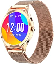 """Smart Watch for Women,1.3"""" Full Touch Color Screen Fitness Tracker Compatible with iOS and Android Phone,IP67 Waterproof Activity Tracker with Heart Rate Sleep Monitor Step Counter (Gold)"""