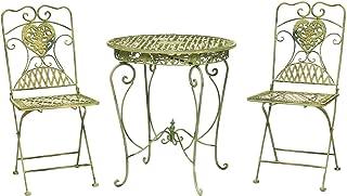 Juego Juego Mesa y 2 sillas de Estilo Antiguo de Hierro Crema de Muebles