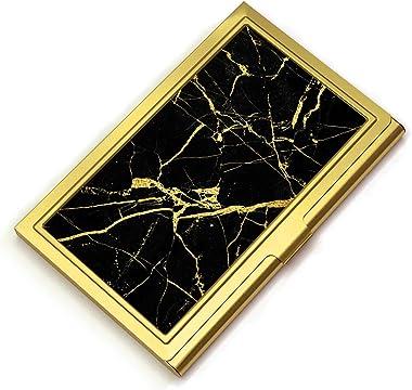 Business Card Holder - Gold Business Card Case for Women and Men Stainless Steel Credit Card Holder Pocket Metal Business Car