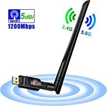 WiFi Adapter, YOUYOUTE 1200Mbps Dual Band (2.4G/150Mbps+5G/433Mbps), Wireless USB 802.11N/G/B Antenna Network Dongle Adapter for Windows XP/Vista/7/8/8.1/10 (32/64bits) MAC OS