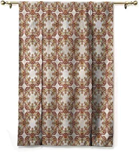 """HouseLookHome Drapes and Curtains Victorian Window Valance Balloon Blind Royal Floral Motifs for Study Room Decor Rod Pocket Panel, 39"""" W x 63"""" L"""