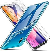 AROYI Funda + 2 X Protector de Pantalla para Samsung Galaxy A10, Transparente TPU Silicona Carcasa, Anti-Choques/Arañazos Flexible Case Cover para Samsung Galaxy A10