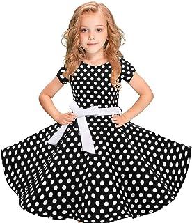 4f4d9a13bd7ba MRULIC Robe Fille Tache Noire Enfants Filles Robe Vintage Polka Dot  Princesse Swing Rockabilly Robes De