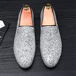Rhinestone Personality Men's Shoes Pointed Leather Shoes Outdoor (Color : Silver, Size : 41)