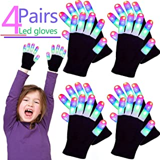 4 Pairs Glow In The Dark LED Gloves, Holiday Light Up Glove 3 Colors 6 Modes Teens Boys Girls Finger Lights Student Flashing Glow in the Dark Party Supplies with Extra Batteries Novelty Light Up Toy