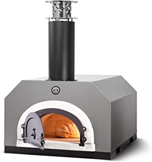 Chicago Brick Oven Wood-Burning Outdoor Pizza Oven, CBO-500 Countertop Oven with Silver Vein Hood
