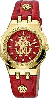 ROBERTO CAVALLI Women's RC-89 Gold Tone Swiss Quartz Watch with Leather Calfskin Strap, Red, 20 (Model: RV1L114L0036)