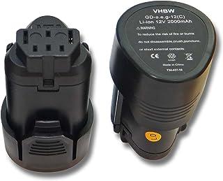 vhbw 2x Batería compatible con AEG BBH12, BLL12C, BS12C, BS12C2, BSS12C, BWS12, BWS12CBWS herramientas eléctricas (2000mAh Li-Ion 12V)