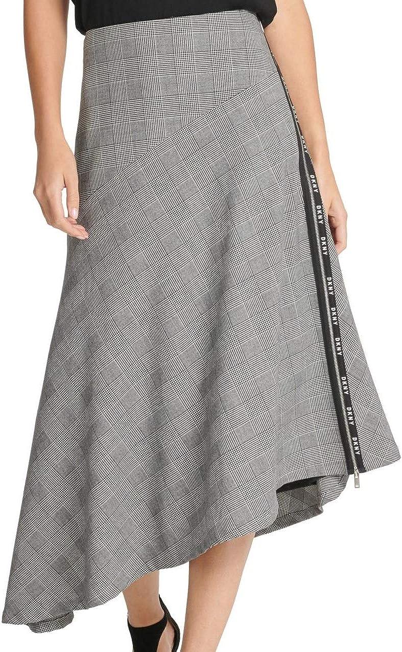 DKNY Women's Houndstooth Logo Trim Asymmetrical Skirt with Zippered Logo