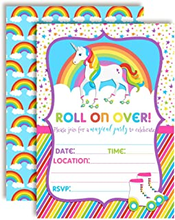 Colorful Unicorn Rainbow Roller Skating Birthday Party Invitations, 20 5
