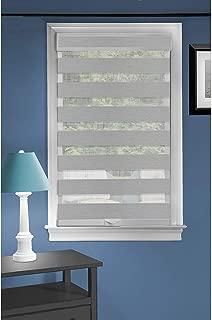 Cordless Serenity Sheer Double Layered Zebra Shade Horizontal Cordless Window Shade Blind Roller Blinds & Treatments (33x72, Grey)