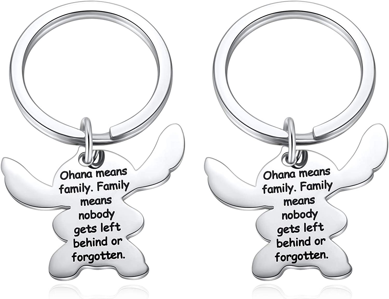 OFFicial shop Stitch Max 40% OFF Keychain Ohana Means Family Cartoon Chain Key Ke