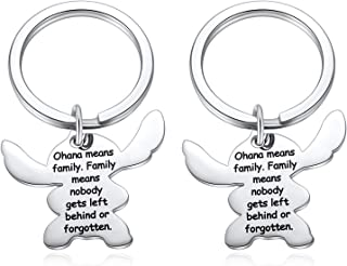 Stitch Keychain, Ohana Means Family Key Chain, Cartoon Stitch Key Ring - Family Means Nobody Gets Left Behind or Forgotten...
